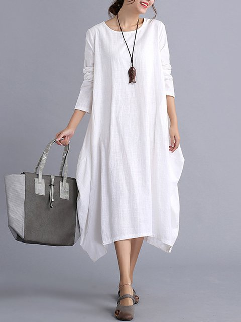 Women Long Sleeve Cotton Casual Pockets Solid Casual Dress