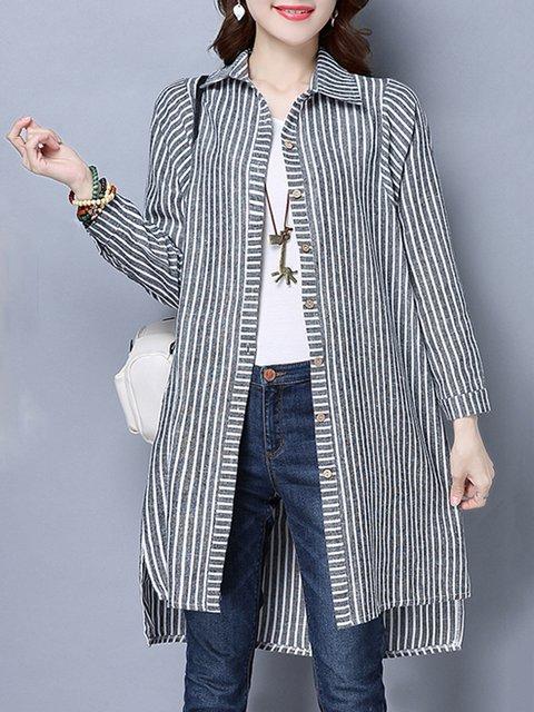 Gray Striped Shirt Collar Pockets Linen Slit Buttoned Cardigan