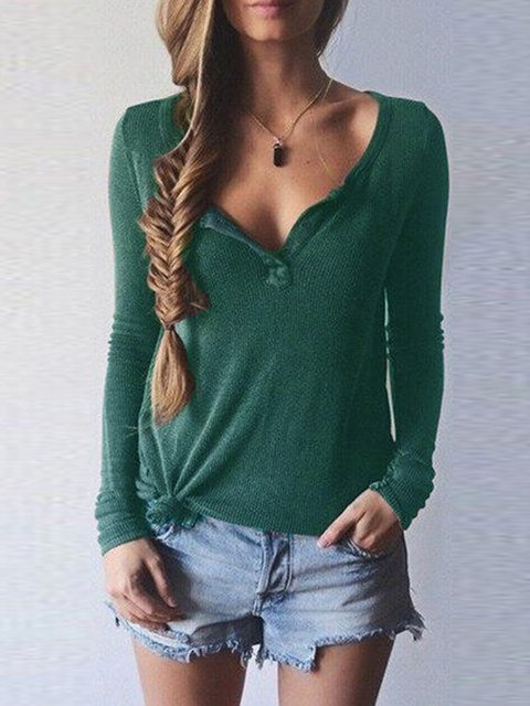 V Neck Casual Solid Long Sleeve T-Shirt
