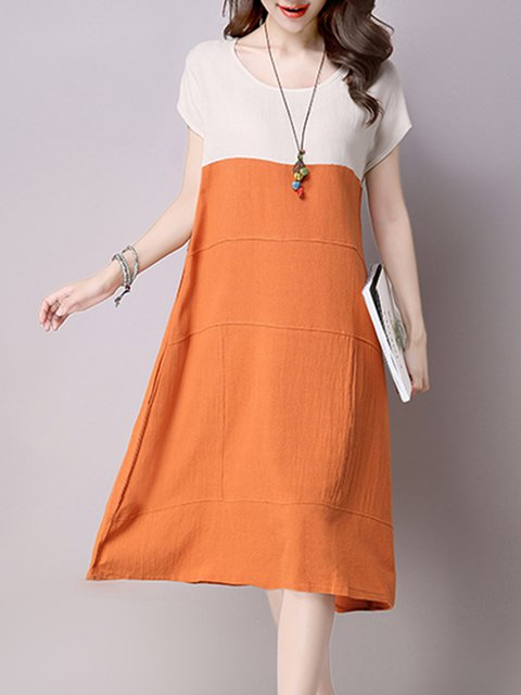 Orange A-line Women Daytime Short Sleeve Casual Linen Color-block Casual Dress
