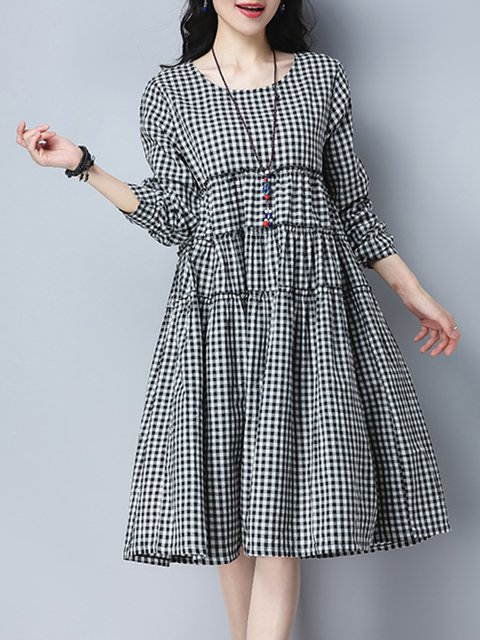 Black  Women Casual Cotton Gingham Casual Dress