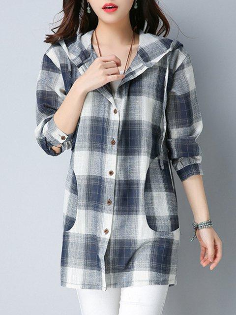 Navy Blue Long Sleeve Hoodie Blouses & Shirt