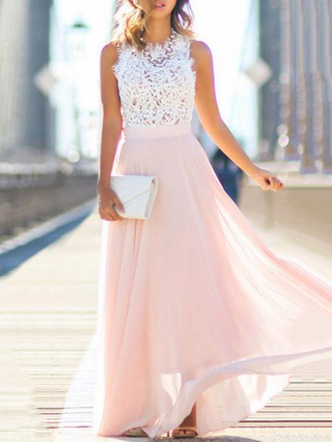 Swing Women Going out Sleeveless Chiffon Paneled Floral Prom Dress