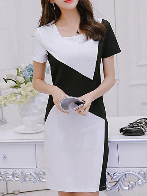 Square neck White Sheath Women Going out Short Sleeve Elegant Elegant Dress