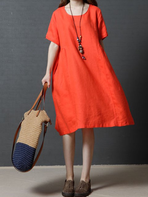 Orange A-line Women Daily Linen Short Sleeve Casual Pockets Solid Casual Dress