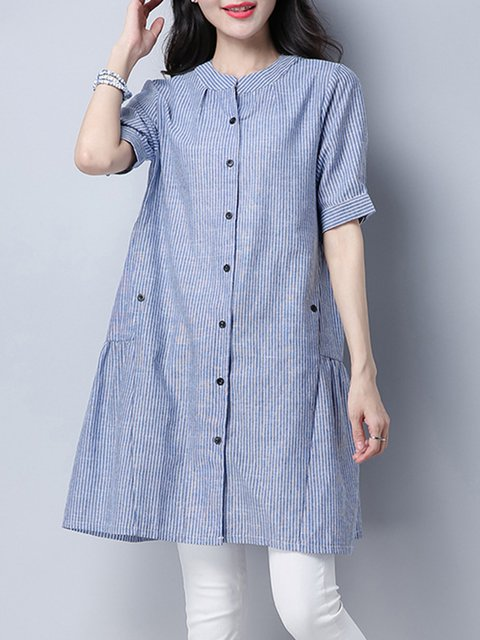 Blue Casual Buttoned A-line Tunic Top