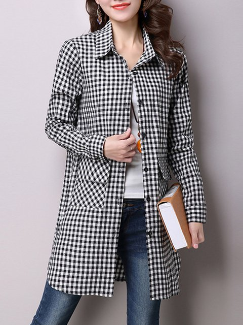 Black A-line Checkered/Plaid Casual Shirt Collar Shirts  Blouse