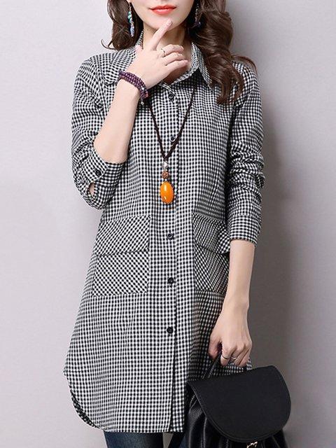 Black Long Sleeve Linen Buttoned Shirt Collar Shirts  Blouse