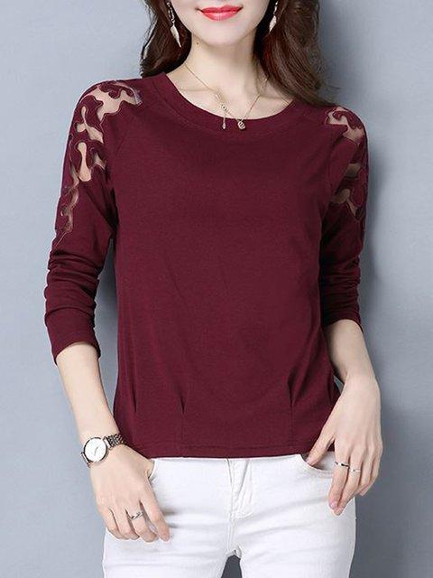 Burgundy H-line Lace Paneled Long Sleeve  T-Shirt