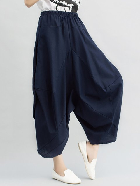 Navy Blue Casual Solid Linen Wide Leg Pants