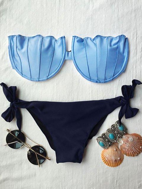 Blue Seashell Bow Bandeau Padded Bikini