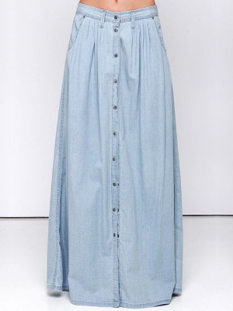 Buttoned Denim Casual Plain  Skirt