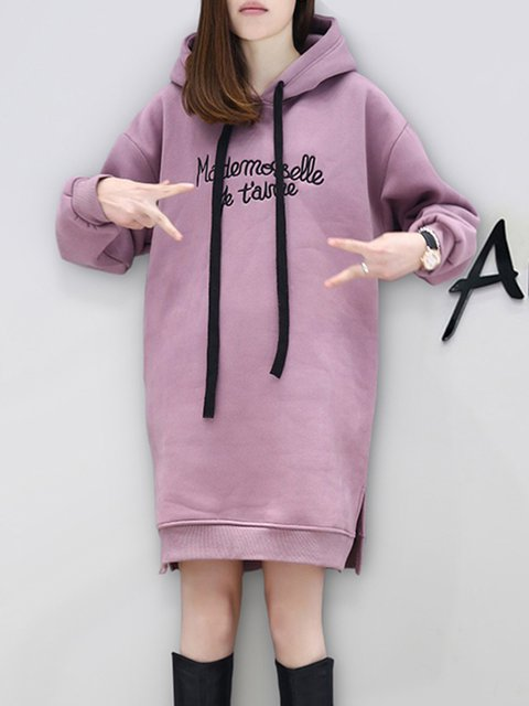 Hoodie  Shift Women Daily Casual Cotton Long Sleeve Letter Casual Dress