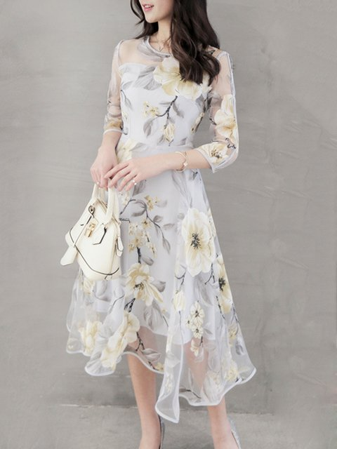 Prom 4 Dress Floral Printed Asymmetrical Sleeve Women 3 Elegant Elegant 5qfwBUt