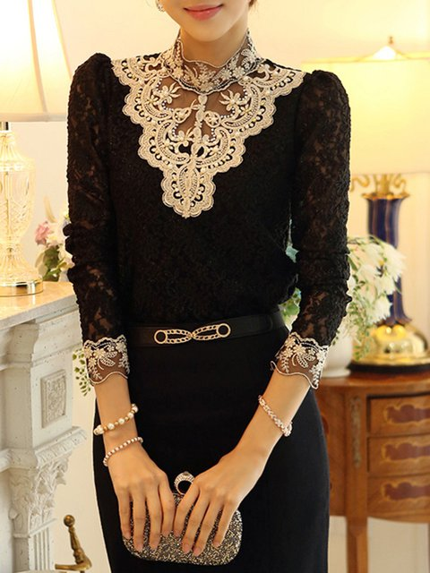 Beaded Guipure Lace Embroidered T-Shirt