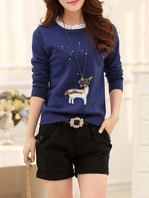 Knitted Long Casual Casual Long Sweater Knitted Sleeve zq4axPw