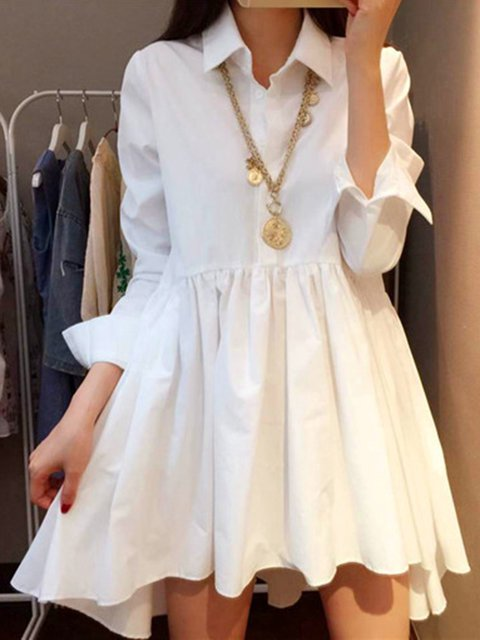Shirt Collar White High Low Women Cotton Casual Long Sleeve Gathered Solid Casual Dress