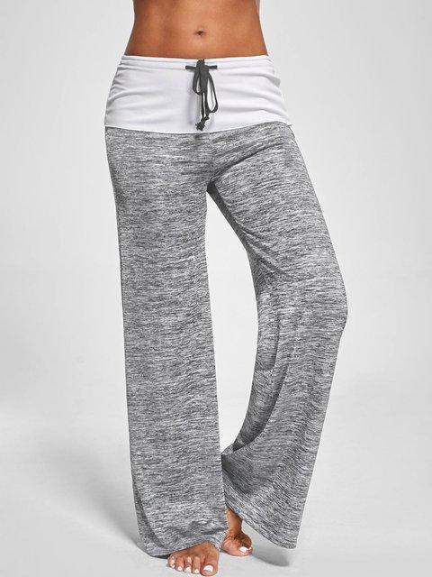 Gray Casual Paneled  Wide Leg Pants