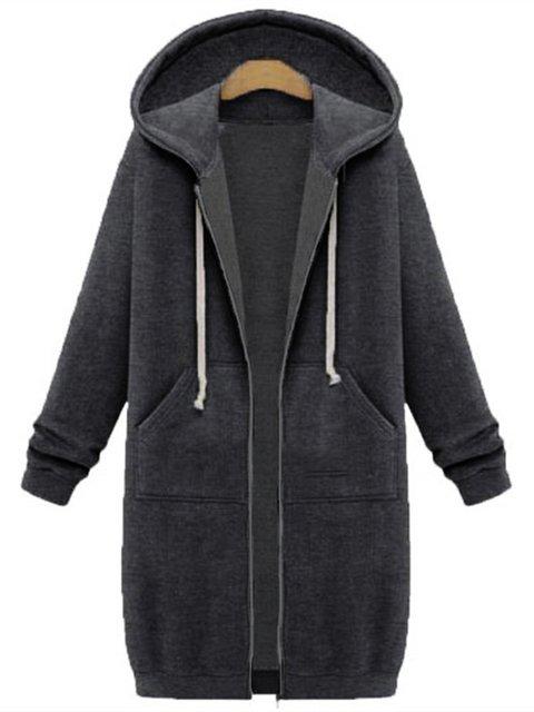 Plain Pockets Long Sleeve Plus Size Jacket