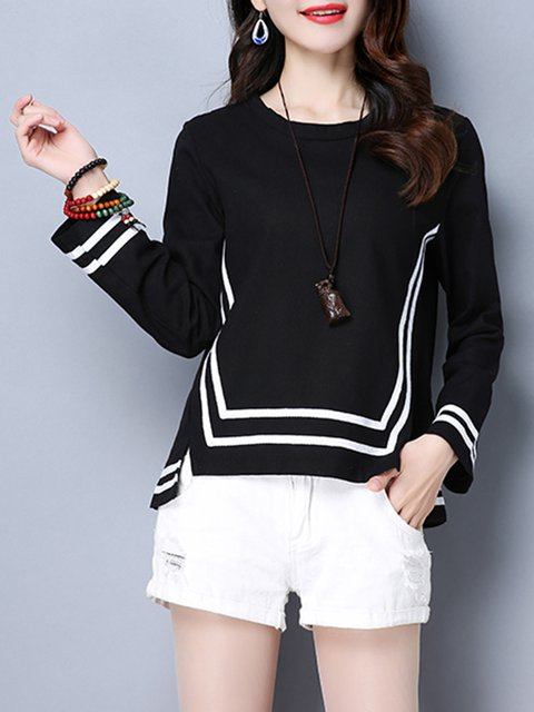 Long Sleeve High Low Crew Neck Slit T-Shirt