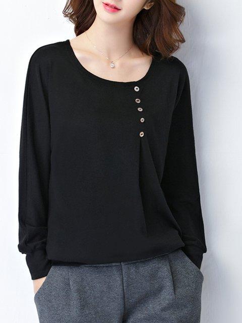 Black Plus Size Buttoned Crew Neck Long Sleeve Plus Size T-Shirt