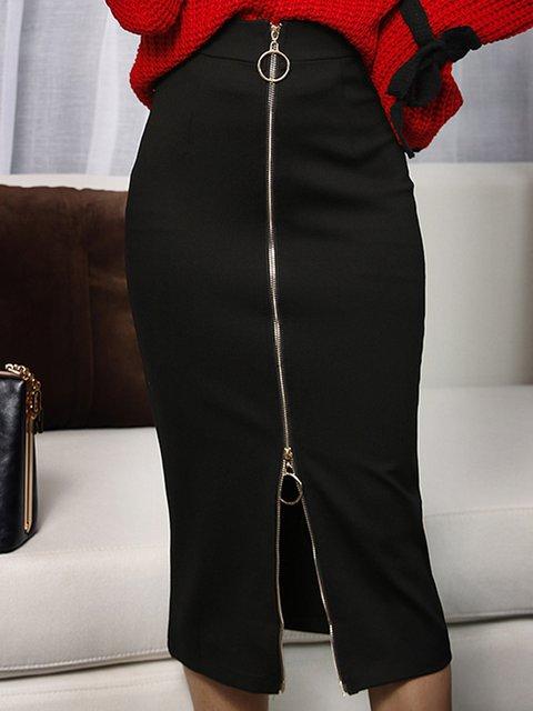 Black Bodycon Elegant Solid   Skirt