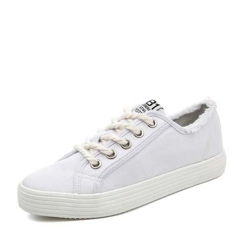 White Women's Flat Lace-Up Fashion Sneakers