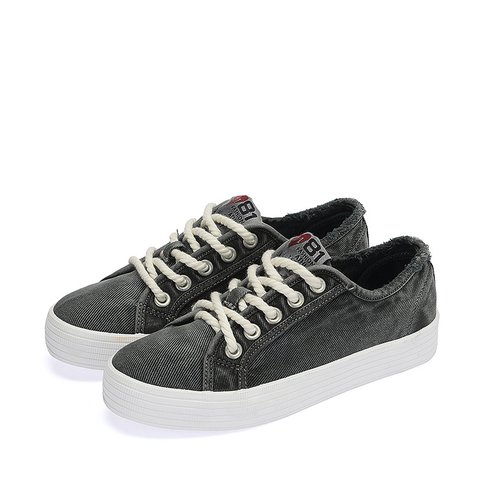 Gray Lace-Up Women's Fashion Sneakers
