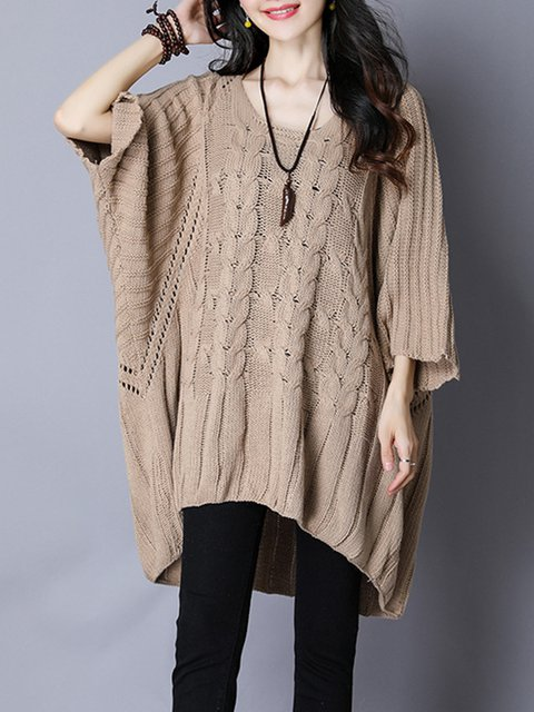 Crew Neck Casual Plain Batwing Knitted Sweater