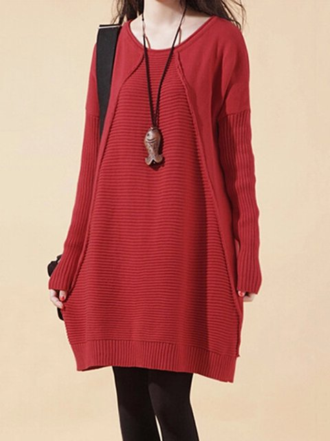 Women Daily Long Sleeve Paneled Solid Casual Dress
