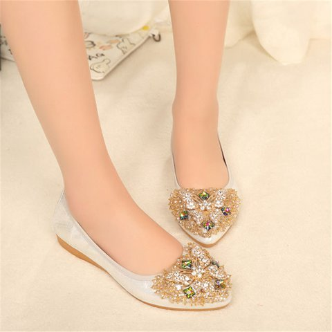 Silver Slip-On Rhinestone Women Flats