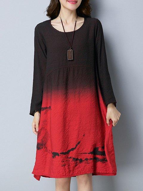 Shift Women Long Sleeve Casual Dip-Dyed Casual Dress