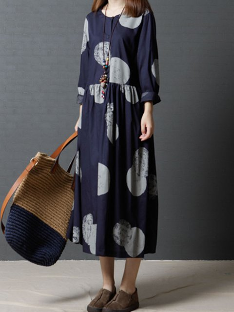 Shift Women Daily Long Sleeve Casual Gathered Polka Dots Casual Dress