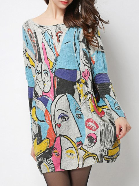 Statement Batwing Abstract Printed Knitted Sweater