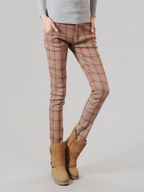 Pocket Buttoned Checkered/Plaid Pants