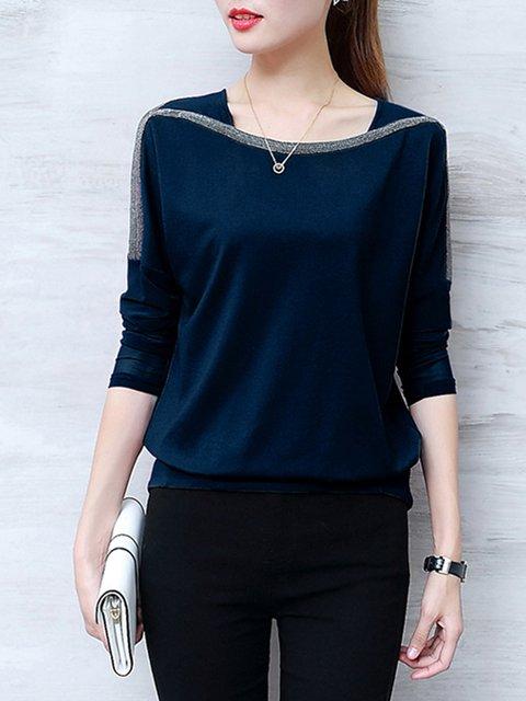 Long Sleeve Plain Embellished  T-Shirt