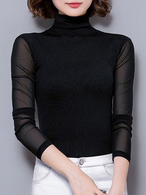 See-through Look Long Sleeve Plain Turtle Neck Blouse