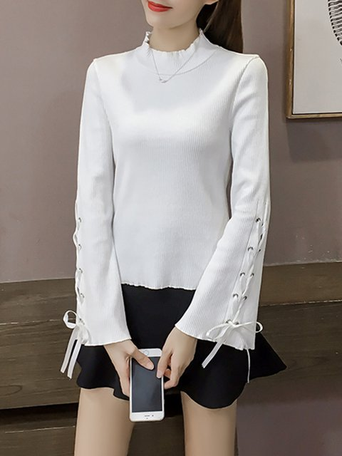 Knitted Lace Up Solid Casual Sweater