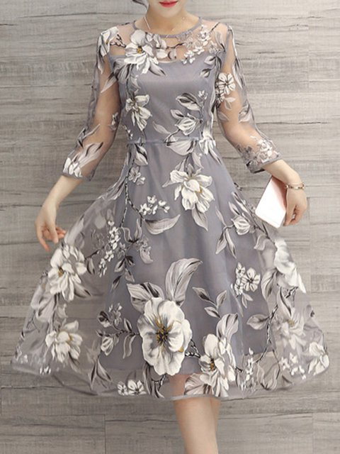Gray A-line Women Going out 3/4 Sleeve Elegant Printed Floral Elegant Dress