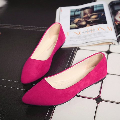 Pointed Toe Women Suede Slip-On Flats