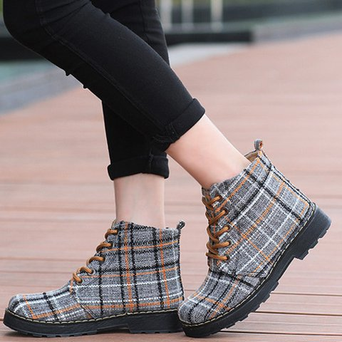 Yellow Plaid Lace-Up Ankle Fabric Women Boots