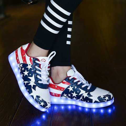 Luminous Lace-Up Women Fashion Sneakers