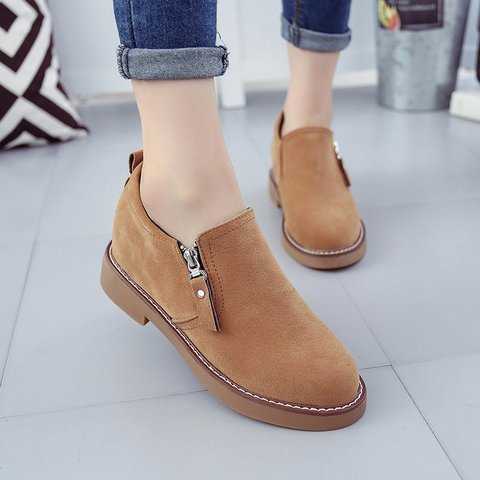 Zipper Round Toe Slip-On Women Suede Oxfords