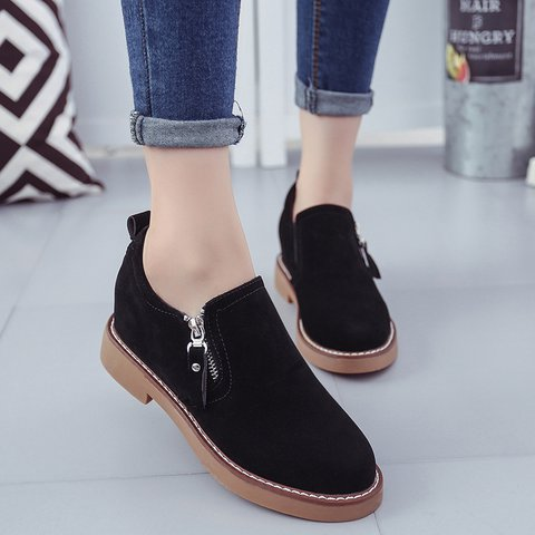Black Zipper Women Slip-On Suede Oxfords