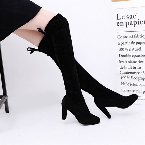 Black Women's Round Toe Suede Knee-High Boots