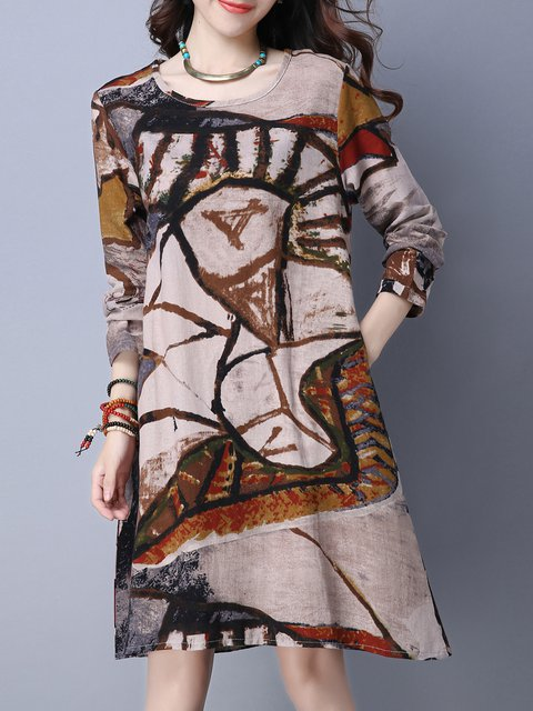 Khaki Shift Women Daytime Long Sleeve Cotton Casual Printed Abstract Casual Dress