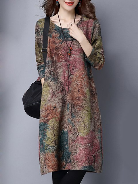 Multicolor Shift Women Daytime Casual Long Sleeve Printed Abstract Casual Dress