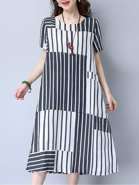 A-line Women Daytime Casual Short Sleeve Linen  Striped Casual Dress