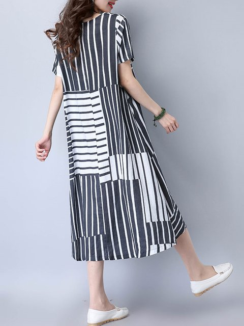 Striped Casual line Dress Short Women Daytime Linen A Sleeve Casual qO0Uvx6n