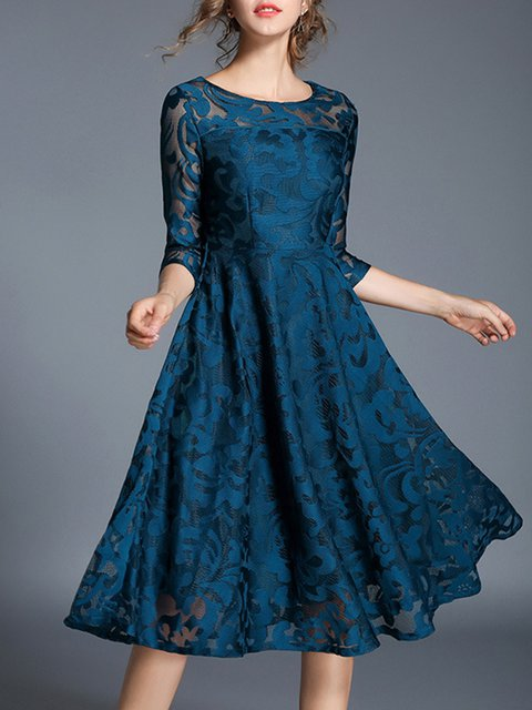 Women Prom Dress Crew Neck Daily 3/4 Sleeve Cotton Dress